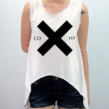 The XX COEXIST Shirt Softly/Lightly Crop Top Midriff Mid Driff Belly Shirt Women - silk screen handmade