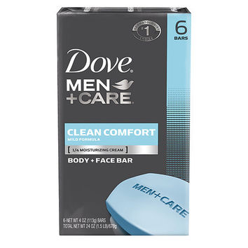 DOVE MEN + CARE  CLEAN COMFORT BODY & FACE BAR 6 -4 OZ