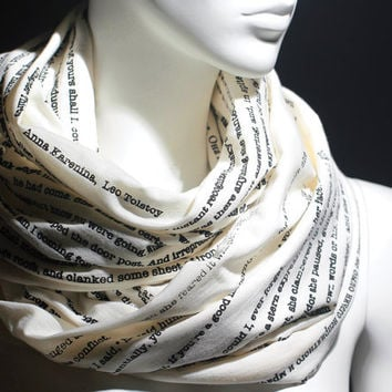 Anna Karenina book on the scarf - Infinity Scarf - Love Story Scarf - Romantic Scarf - Scarf - Screen Printed Scarf  - Ivory Scarf