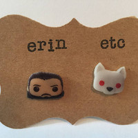 Handmade Plastic Fandom Earrings - Game of Thrones - Jon Snow & Ghost