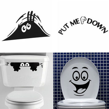 Smiley Face Funny Toilet Stickers