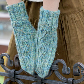 Hand knitted winter mittens for woman blue green