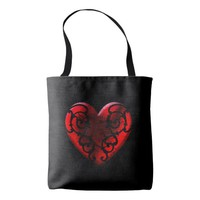 Filigree Goth Red Heart Tote Bag