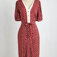 40s Long Short Sleeves A-line Watch and Discern Dress