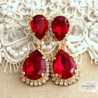 Red Ruby Chandelier earrings, Red Ruby earnings,Gold  Ruby chandelier dangle earrings, Bridal Ruby earrings, Swarovski  Chandelier earrings.