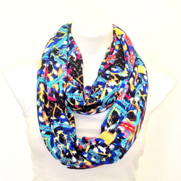 Tribal Infinity Scarf, Blue Aztec Scarf, Women, Teen Fashion Accessory, Jersey Scarf