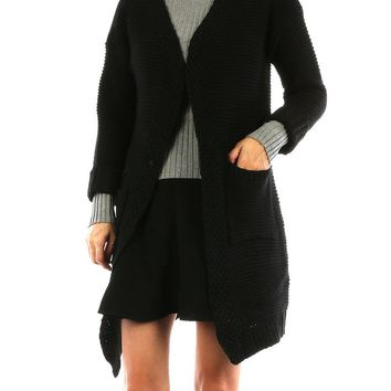 Black Knit Sweater Chardigan with Front Pockets