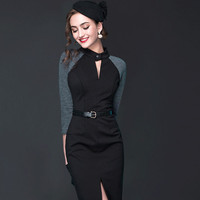2016 Spring New Women Dress Patchwork Sexy Long Sleeve Black Retro Temperament Split Casual  Dress With Zipper In Back