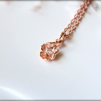 Tiny Diamond Flower Necklace in Rose Gold