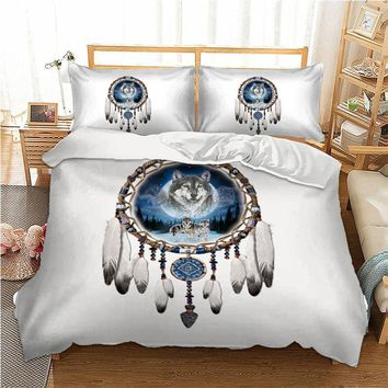 Cool 3pcs/lot Double Bed Sheets Boho Dream Catcher Printed Bed Mattresses Bedding Set Bohemian Duvet Cover Set Pillowcase Queen KingAT_93_12