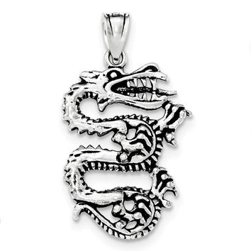 Sterling Silver Antiqued Dragon With Tongue Out Pendant