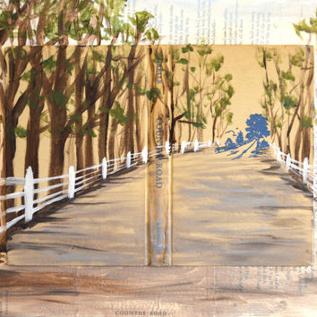 country home decor, country art, country road, country girl, winding road, country prints, country artwork, pick it fence, fence painting
