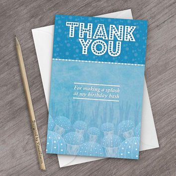 Fish Party Thank You Cards, Printable Birthday Party Under The Sea, Digital Coral Reef Thank You Notes, Jellyfish Pufferfish Birthday Party