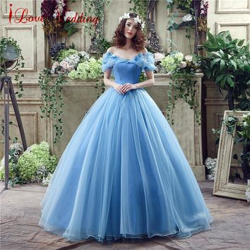 Vintage Blue Ball Gown Prom Dress New Movie Princess Cinderella Cosplay Dress for 2017 Fancy Off The Shoulder Tulle Party Dress