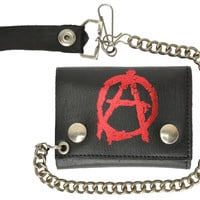 Biker Chain Genuine Leather Trifold Wallet Anarchism Symbol Imprint 946-48 (C)