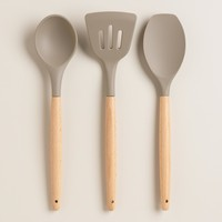 Gray Silicone Spoonula with Wood Handle