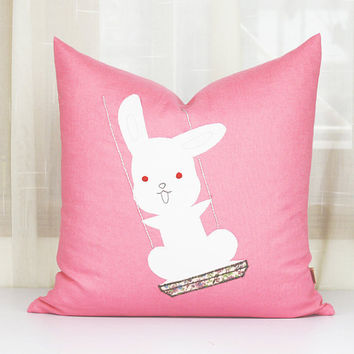 Cute baby rabbit cushion covers,Easter bunny pillowcase,Handmade embroidered pillow cases,love rabbit pillows, throw pillows sofa