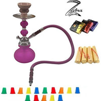 "Zebra Smoke Series: 11"" 2 Hose Pumpkin Echo (X1) Hookah Complete Set Combo KIT w/ Instant Charcoal (Like Three Kings Charcoal), Hydro Herbal Molasses(like Blue Mist), and Hookah Mouth Tips (PURPLE)"