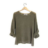 Slouchy Army Green Grunge Mesh Shirt Sheer 90s SEE THROUGH Blouse Boho Festival Cut Out Top Long Sleeve 1990s Bohemian Small Medium Large