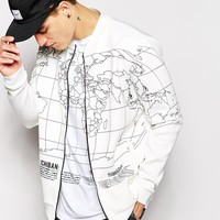 Ichiban Bomber Jacket In World Map Print