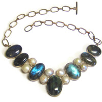 Huge Labradorite Pearl Bib Statement Necklace