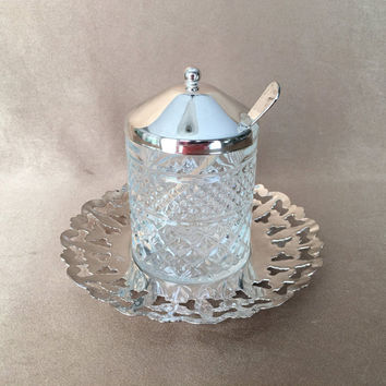 Silver Jam Server, Condiment Set, English Jam Server, Lidded Condiment, Vintage Breakfast, Reticulated Silver, Hostess Gift, Cheese Caddy