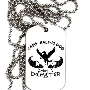 Cabin 4 Demeter Camp Half Blood Adult Dog Tag Chain Necklace by TooLoud