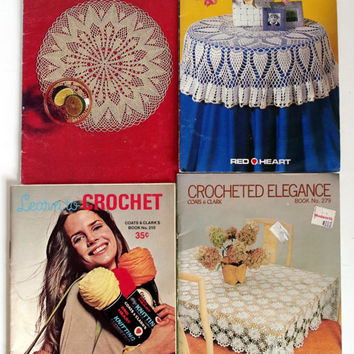 Vintage Crochet Booklet Lot, Set of 4 Coats & Clarks, 1970's Instructional Crochet Techniques, Crochet Patterns for Home and Fashion