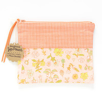 Orange Gingham + Salmon Floral Zipper Pouch