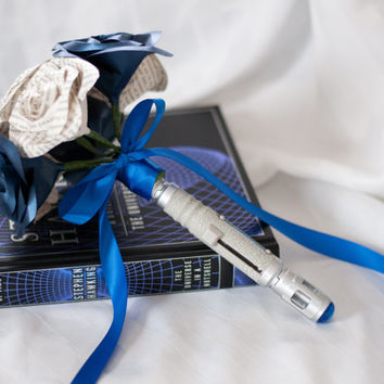 Dr. Who Sonic Screwdriver Handled Paper/Book Page Flower Bouquet 7 Roses