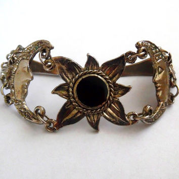 Pretty silver tone crescent moon bracelet. sunflower. black. resin. flower. vintage. 80s. tarnished. summer. gift. hinged link bracelet