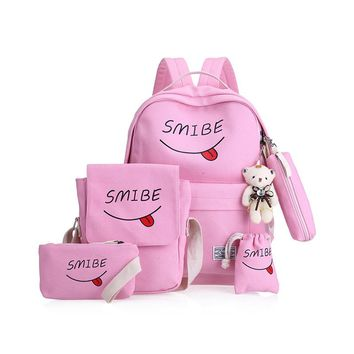 Summer Women Canvas 5Set Backpack Printing Students Bookbag 4 Pcs School Bag Set For Youth Girls With Purse Bear Mochila