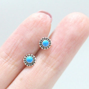 Turquoise Ball Earrings, Turquoise Ear Studs, Sun Earrings, Sun Ear Studs, Sun Stud Earrings, Celtic Earrings, Tribal Earrings