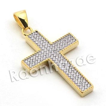 Lab diamond Micro Pave Textured Jesus Cross Pendant w/ Miami Cuban Chain BR026