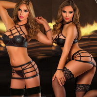 Hollow Halter Solid Color Underwear Lingerie Set