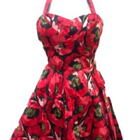 Ixia Women's Poppy Halter 50s Swing Fit and Flare Pin Up Retro Dress