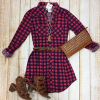 You Plaid me at Hello Belted Tunic: Pink/Navy
