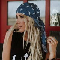Seeing Stars Chambray Frayed Headscarf