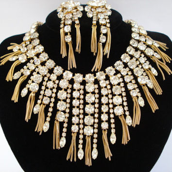 Vintage Hattie Carnegie Dramatic Rhinestone Bib Statement Necklace and Clip-On Earrings