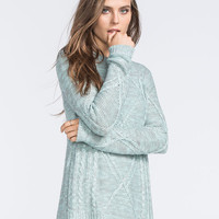 Full Tilt Cable Knit Womens Sweater Mint  In Sizes