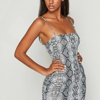 Slither Snake Print Bodycon Mini Dress