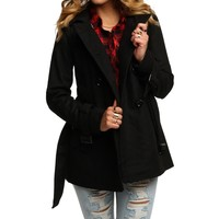 Sale-the Black Wool Trench Coat