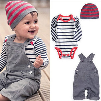 3PCS Kid Baby Boy Bodysuit Striped Romper Set Outfit Shirt+Jeans Pants+Hats  F_B SV006645 = 5616982593