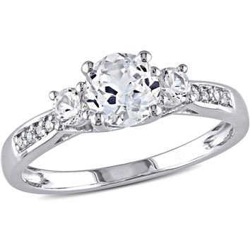 White Sapphire and Diamond-Accent 10kt White Gold Three Stone Engagement Ring