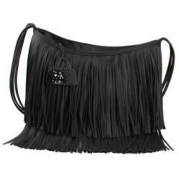 Large Fringed Leather Women Messenger Bags 2 Colors