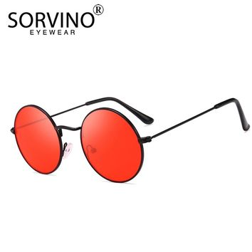 SORVINO Retro Slim Red Round Sunglasses Women Men Designer 90s Lady Men Skinny Steampunk Metal Circle Sun Glasses Shades SP141