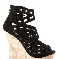 Geometric Peep Toe Cut Out Wedges