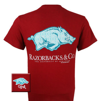 New Arkansas Razorbacks and Co Delta Girlie Bright T Shirt
