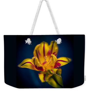 Yellow With Red Stripes Tulip Weekender Tote Bag