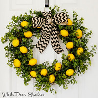 Lemon Wreath, Front Door Wreath, Greenery Wreath, Spring Wreath, Summer Wreath, Yellow Wreath, Kitchen, Lemon Decor